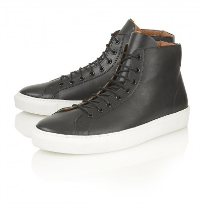 FRANK WRIGHT LOGAN LEATHER HIGH TOP SNEAKERS