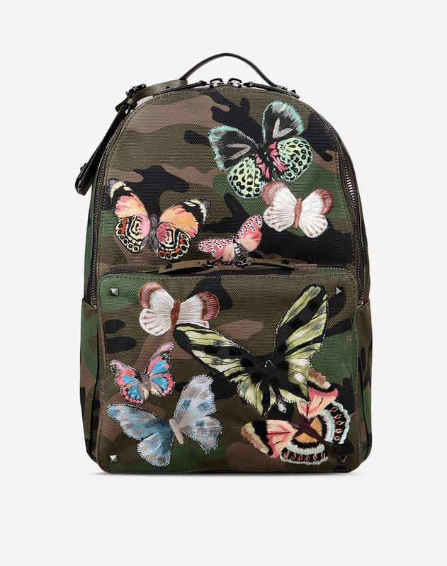 Valentino camubutterfly embroidery backpack